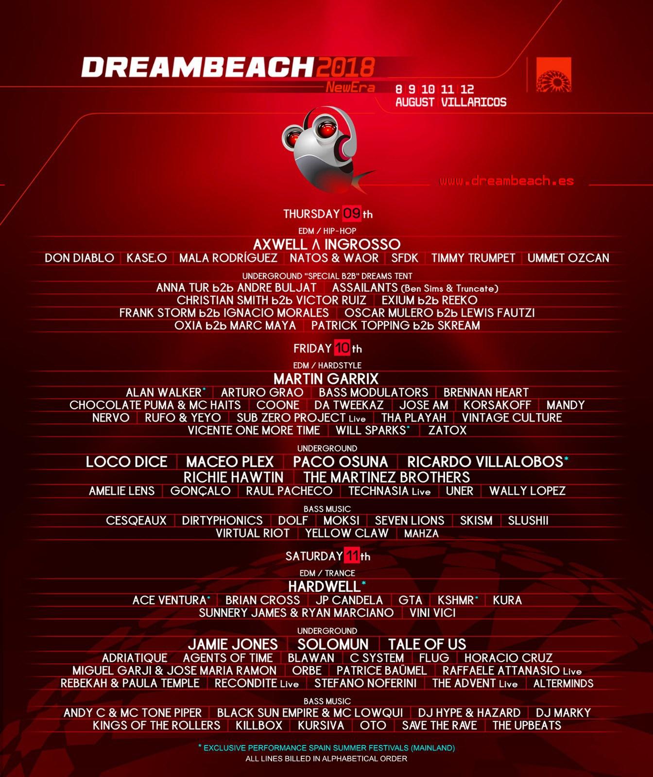 Dreambeach Villaricos 2018 du 8 au 12 août