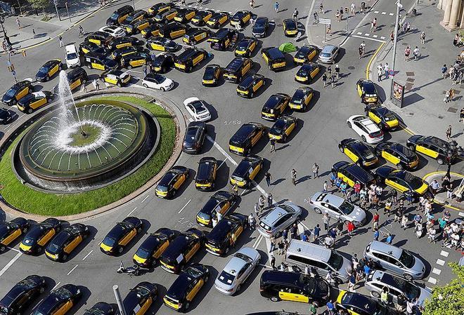 Huelga taxistas Barcelona