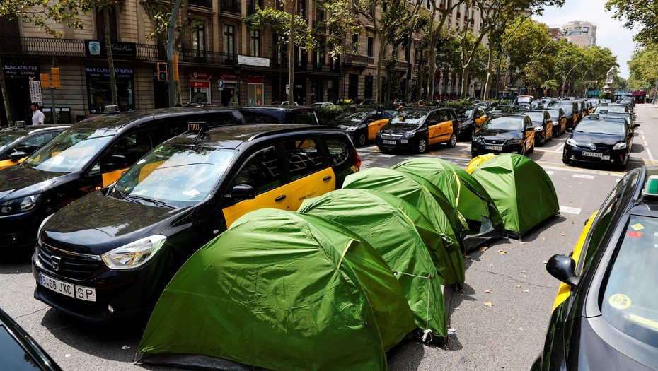 huelga taxistas Barcelona 15M